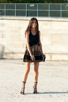 Pleated skirt & black tank