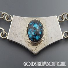 NATIVE AMERICAN NELVIN CHEE NAVAJO STERLING SILVER SPIDERWEB TURQUOISE GEMSTONE INLAY NECKLACE