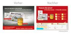 Vorher <-> Nachher: Optimierung der Abowerbung für das Bündner Tagblatt – Tageszeitung: #Werbemittel: 1/2-Abo-Anzeige, Heftwerbung, #Angebot: #Probeabo mit Prämie und Preisvorteil, #Response-Aktivierung über #Coupon und Hotline I © Montana Medien, Hamburg - September 2014 I   #Direktmarketing, #Print, #Verlage, #CRM, #Abo-Marketing, #Dialogmarketing, #Schweiz, #Presse, #Tageszeitung, #Abowerbung, #Abonnement #Print, #Verlage, #MontanaMedien #BERATUNG #AGENTUR