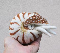 Nautilus needle felted wool ball child friendly art por roommate