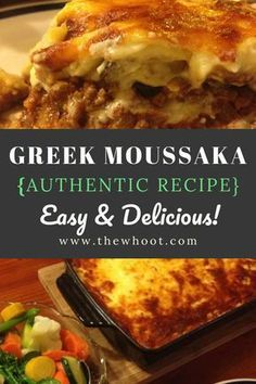 Greek Moussaka Authentic Recipe You'll Love This Authentic Greek Moussaka Recipe Vegetarian Recipes, Cooking Recipes, Healthy Recipes, Greek Food Recipes, Healthy Food, Eggplant Moussaka, Mousaka Recipe, Meat Recipes, Vegetables