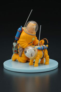 Tintin and Snowy on the moon