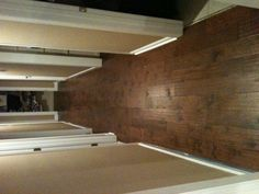 Hallway of engineered hardwood. I installed this like a floating floor with a pad underneath.