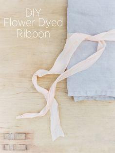 DIY Flower Dyed Ribbon and Napkins via oncewed.com