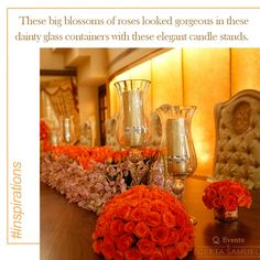 Beautiful floral arrangement as centerpiece. #InspiratonByGeetaSamuel #FloralArrangement #Flowers #Wedding #WeddingDesigners #Candle #Centerpiece #TableArrangement #Decor #decoration