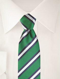 Grün blau weiß gestreifte Krawatte