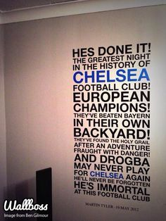 Bespoke Chelsea quote wall sticke available from our store! Football Wall, Football Quotes, Football Is Life, Fifa Football, Inspirational Mottos, Inspirational Wall Decals, Chelsea Tattoo, Club Chelsea, Black