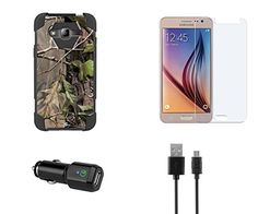 Samsung Galaxy J3  J3V 2016  Hunter Camo Dual Armor Kickstand Case Atom LED Tempered Glass Screen Protector and Cellet 18W Qualcomm Quick Charge 20 Car Charger with Micro USB Cable ** See this great product.Note:It is affiliate link to Amazon.