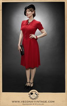 Red swing dress Evita. Perfect for travelling or dancing! Carefully and locally manufactured by hand, in Weisbaden, Germany, by Vecona Vintage.