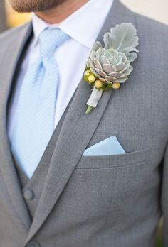 light blue grooms tie - grey suit; nice cut. wedding style