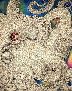 Octopus by Dan Nicoletta, via Behance Cthulhu, Illustrations, Illustration Art, Le Kraken, Motif Art Deco, Ap Art, Fish Art, Sea Creatures, Art Lessons