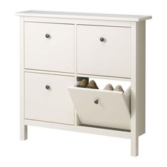 HEMNES Shoe cabinet with 4 compartments, white white 107x101 cm