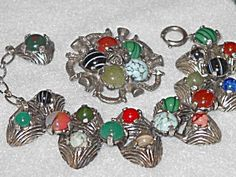 Vintage Miracle Glass Stone Set with Bracelet and Pin