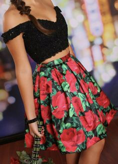 Black Lace Beaded Two-Piece Off-the-Shoulder Floral Homecoming Dresses