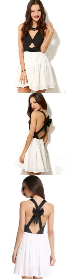 Criss Cross Back BowKnot Pleated Dress! Click The Image To Buy It Now or Tag Someone You Want To Buy This For. #MiniDress