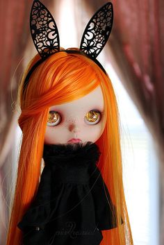 Blythe ◉◡◉ (orange hair and eyes with black lace bunny ears)