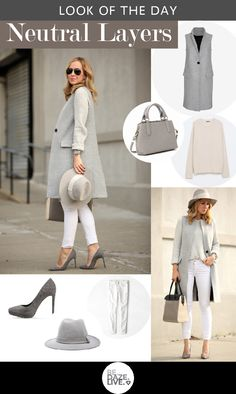 Look of The Day: Neutral Layers |Be.Daze.Live   (Fall / Winter - street chic style - business casual - office wear - work outfit - grey long vest + cream sweater + white skinnies + grey stilettos + light grey wool fedora + neutral toned tote + aviators)