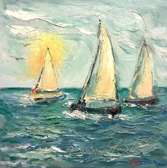 Original oil painting Sailboats abstract palette knife