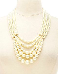 Layered Pearl Statement Necklace: Charlotte Russe