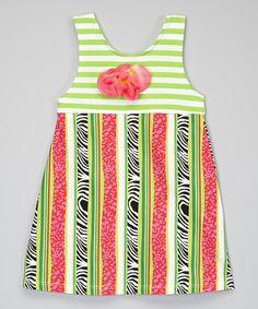 Pink & Green Zebra Stripe A-Line Dress - Toddler & Girls #zulily #zulilyfinds