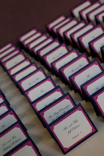 Thought I wanted a seating chart but seeing these place cards with our fabulous colors has me considering a change.