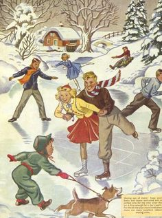 I remember trying my had at ice skating and discovering I was not good at it at all, but it was fun to try. I spent a lot of fun times watching my friends and enjoying the hot chocolate with marshmallows afterwards. Vintage Christmas Images, Retro Christmas, Vintage Holiday, Christmas Pictures, Christmas Art, Winter Christmas, Vintage Greeting Cards, Vintage Postcards, Vintage Pictures