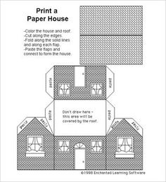 Templates Printable Free, Printable Paper, Paper Cutting Templates, Diy Paper, Free Paper, Paper Crafts, Card Crafts, House Template, Putz Houses