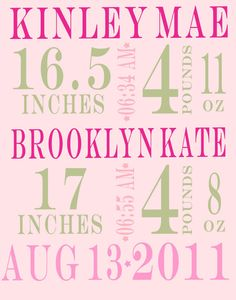 11 X14 twins Custom Nursery Decor  Baby print by alovelydetail, $29.00