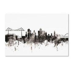"Trademark Art 'Middlesbrough England Skyline III' Graphic Art Print on Canvas Size: 12"" H x 19"" W x 2"" D"