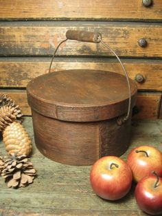 Outstanding Early Old Bail Handled Pantry Box  $210 ~ Hannah's House Antiques on Ruby Lane.
