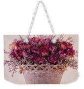 Pink Dried Roses Floral Arrangement Weekender Tote Bag by Sandra Foster