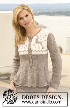 """Oh Deer! - Knitted DROPS jacket in """"Karisma"""" with puff sleeves and reindeer pattern on yoke. Size S to XXXL. - Free pattern by DROPS Design Unicorn Knitting Pattern, Sweater Knitting Patterns, Knit Patterns, Drops Design, Fair Isle Knitting, Free Knitting, Baby Knitting, Finger Knitting, Drops Patterns"""
