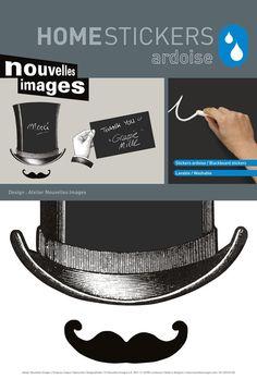 Pon un toque de humor con este vinilo pizarra con forma de señor con sombrero de copa y mostacho.   www.tatamba.com
