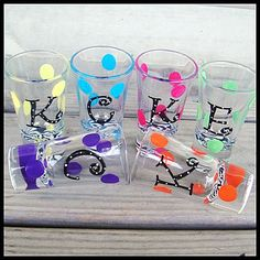 shot glasses painted | Items similar to Hand Painted polka dot SHOT GLASSES Bridesmaids ...