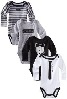 Calvin Klein Baby-Boys 4 Pack Long Sleeve Bodysuit,Black/Gray,0-3 Months: Amazon.com: Clothing