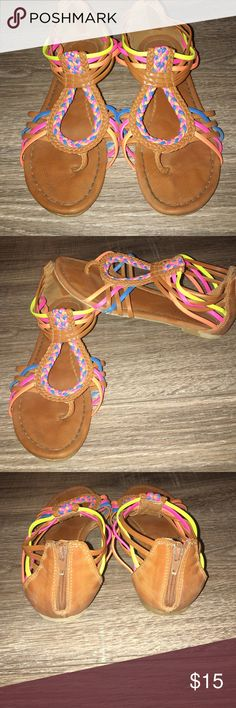 Justice Sandals- Size 2 Justice Sandals- Size 2: These Sandals are in great condition. There is a little bit of wear to the bottom of the sandal strings- view in pictures above. They come from a smoke free home. Justice Shoes Sandals & Flip Flops