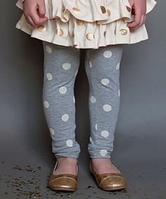 Loving this Gray & Ivory Polka Dot Bea Leggings - Infant, Toddler & Girls on #zulily! #zulilyfinds