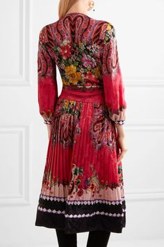 Etro - Printed Jacquard Wrap Dress - Pink - IT48
