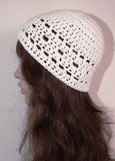 48b31251f5f Gehäkelte Mütze Sommer Beanie aus weichem Baumwolle Mix weiß Baumwolle