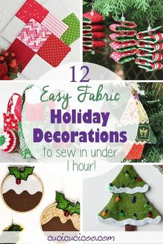 These 12 easy holiday decorations to sew will let you get in on DIY Christmas and holiday cheer in less than one hour! Simple handmade projects for beginners to sew by hand or with a sewing machine. #handmadechristmas #christmassewing Diy Christmas Tree Skirt, Fabric Christmas Trees, Felt Christmas Ornaments, Simple Christmas, Handmade Christmas, Christmas Crafts, Easy Holiday Decorations, Christmas Decorations Sewing, Christmas Sewing Projects