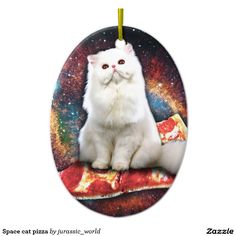 Space cat pizza ceramic ornament
