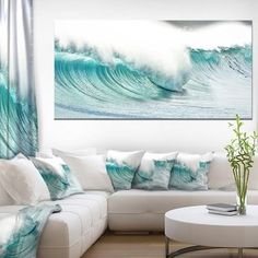 Shop for Massive Blue Waves Breaking Beach - Contemporary Seascape Art Canvas. Get free delivery On EVERYTHING* Overstock - Your Online Art Gallery Store! Get in rewards with Club O! Beach Living Room, Beach Bedroom Decor, Beach Room, Coastal Living Rooms, Beach Condo, Beach House Decor, Tropical Home Decor, Coastal Decor, Beach Canvas Art