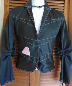 FALBALA Canada Rare Designer Women s Black Pink Sexy Lined Stretch Jacket Sz 1