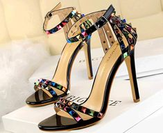 Product  .Sexy awesome strappy sandals with colorful studs, hasp, ankle sandals, hasp, high and colorful heels too, patent leather  .heels 11 cm  .platform 0.5 cm  .Condition 100% brand new  .Color available black, white, champion, red, nude, b...