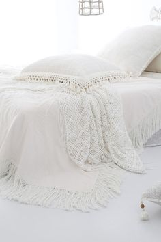 I love everything here, the pillow with a crochet edge, the bedspread ( or is it a duvet cover ) and the crochet blanket is so so pretty. I need something like that for the cot, the cellular blanket is handy and it is cotton, but not as pretty as I need it to be