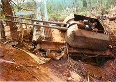 North Vietnamese mobile anti-aircraft gun destroyed by a 500-lb. aerial bomb during the siege of An Loc. 1972.. .