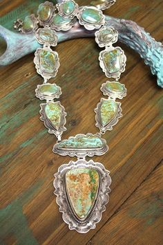 Magnificent Turquoise & Sterling Heirloom style Necklace
