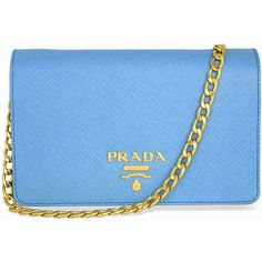 Prada Lux Saffiano Leather Crossbody Wallet - Light Blue (6,175 GTQ) ❤ liked on Polyvore featuring bags, wallets, snap wallet, pocket wallet, prada, prada crossbody and prada bags