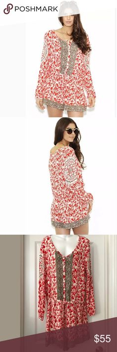 "New free people resort gardenia shorts romper L Free People Gardenia Resort Romper     New without tags   ~ Size: Large   ~ Mixed prints lend boho-chic intrigue to a relax-fit romper detailed with a front half-placket and a flattering drawstring waist.  Bust 21.5""  Length 35.5""  Sleeve 24.25""   ~ 100% Rayon   ~ Care: Machine wash or dry clean  Smoke/pet free home Free People Shorts"