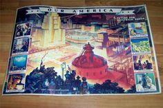 "WWII 1942 COCA-COLA ""OUR AMERICA"" LITHO POSTER 4. FUTURE FOR ELECTRICAL POWER"